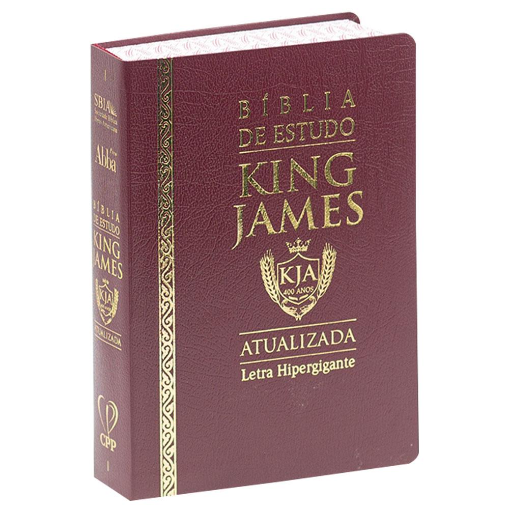 Bíblia de Estudo King James   Bkja   Letra Hipergigante   Couro Sintético   Bordô