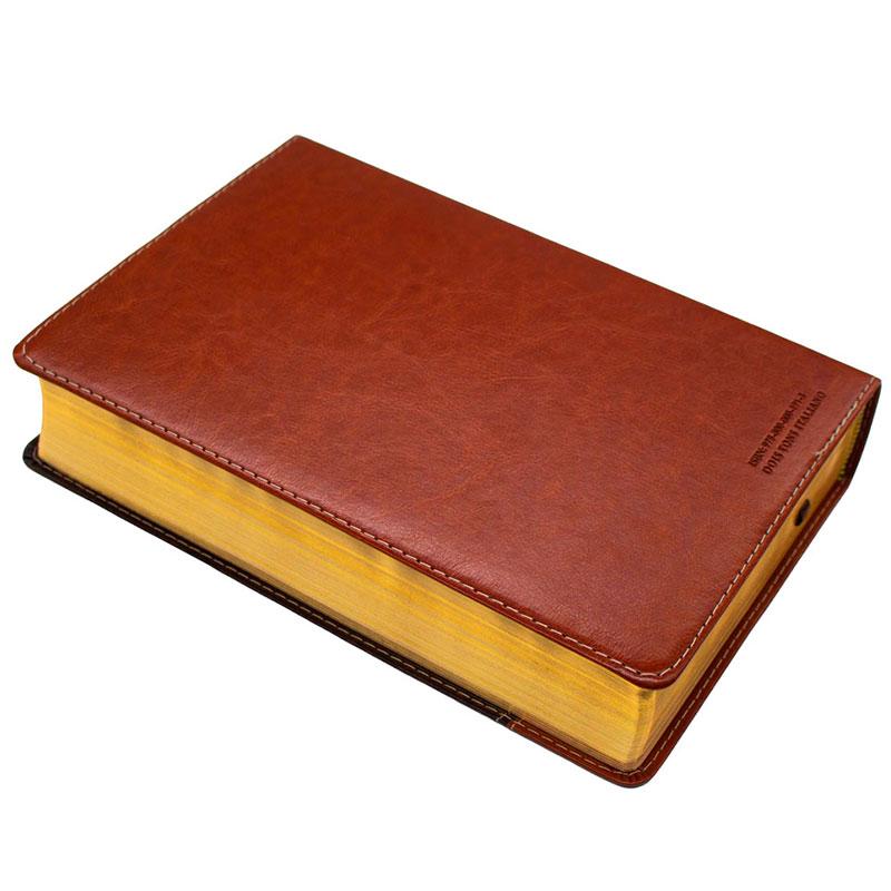 Bíblia De Estudo   NVI   Capa Luxo   Marrom E Marrom Escuro