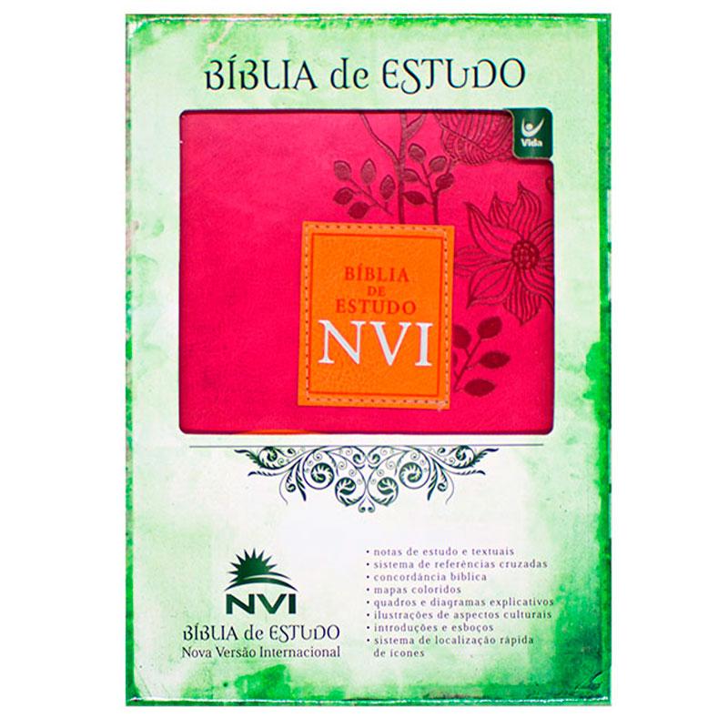 Bíblia De Estudo   NVI   Capa Luxo   Rosa E Laranja