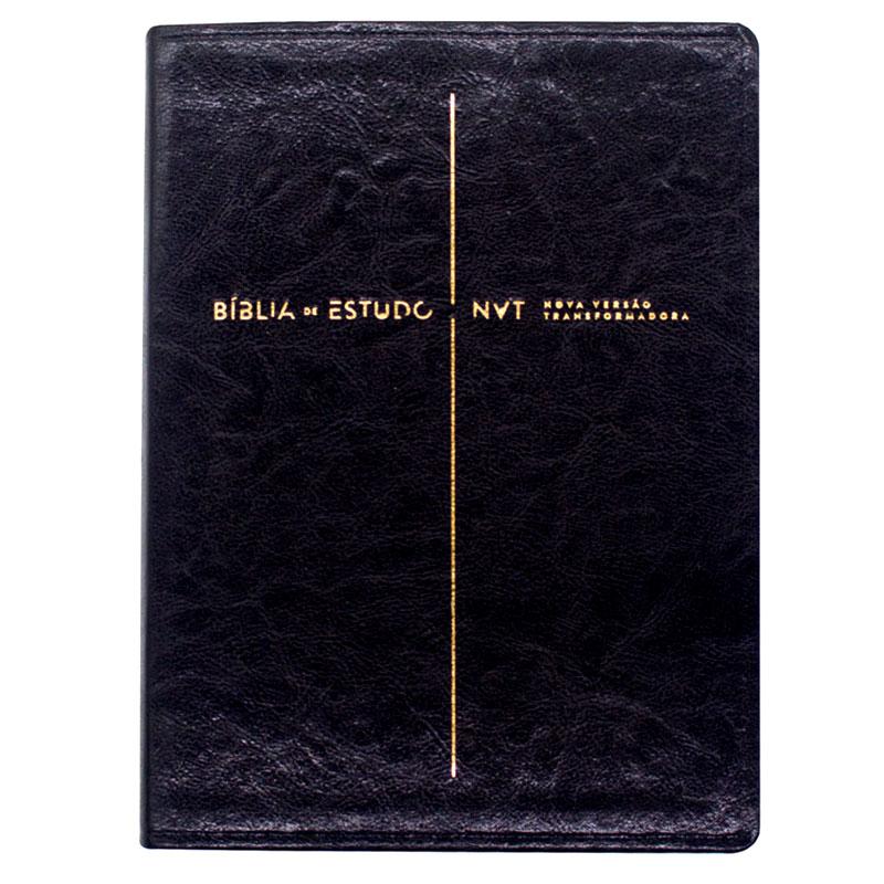 Bíblia De Estudos   NVT   Capa Pu  Preta