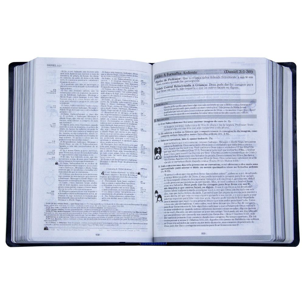 Bíblia De Recursos Para O Ministério Com Crianças Luxo   ARA   Capa Couro Bonded   Azul