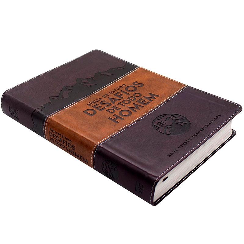 Bíblia Desafios De Todo Homem | NVT | Capa Luxo |Marrom