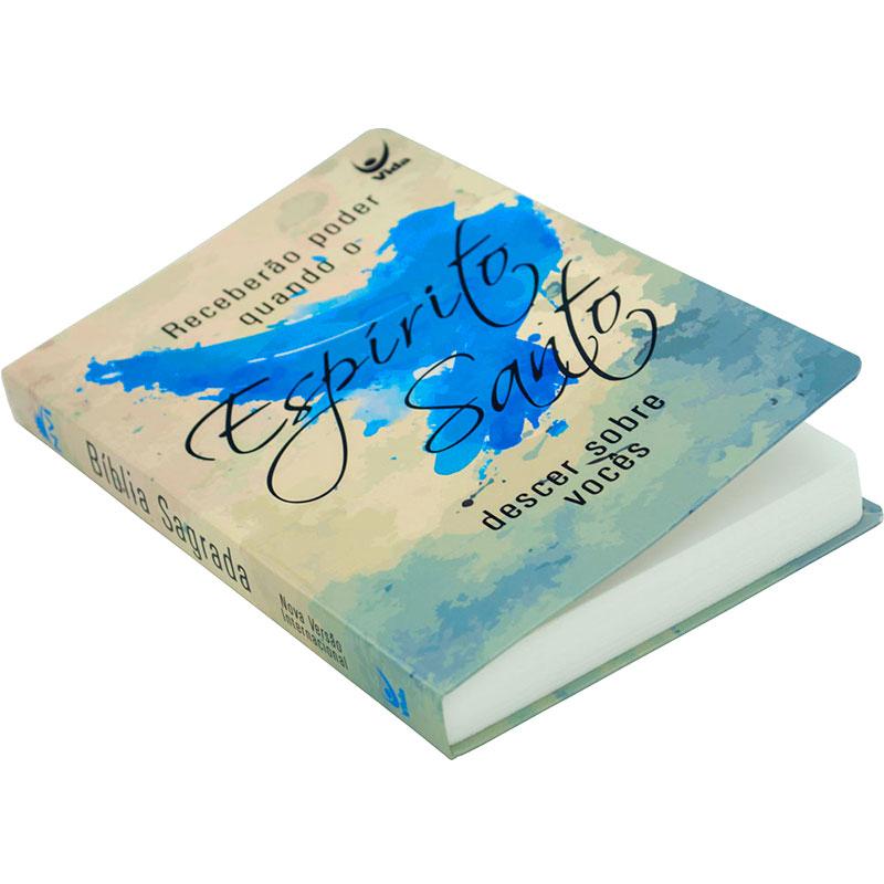 Bíblia Espírito Santo | NVI | Capa Semiluxo | Bege e Azul