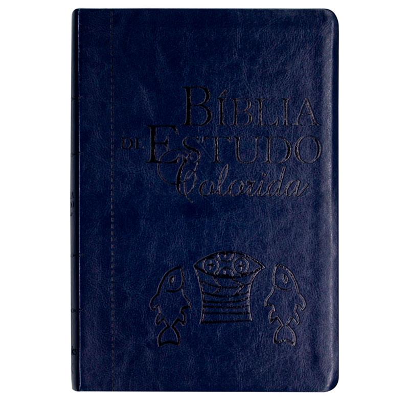 Bíblia Estudo Colorida | NVI | Capa Luxo | Letra Grande | Azul