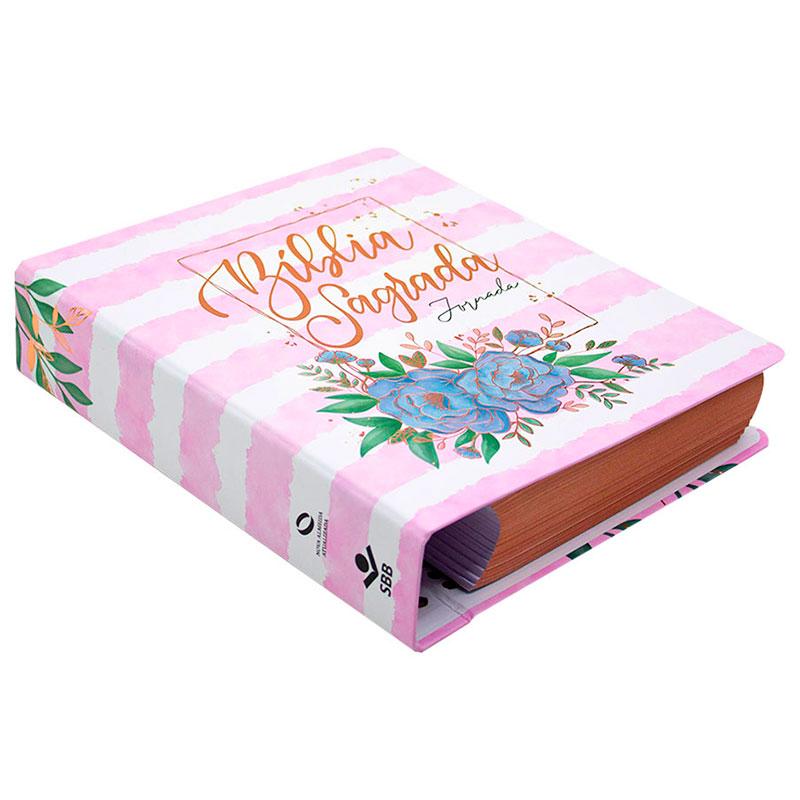 Bíblia Jornada   NAA   Capa Dura   Rosa