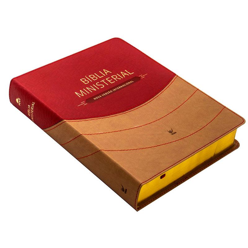 Bíblia Ministerial | NVI | Capa Pu | Marrom Claro E Vermelho