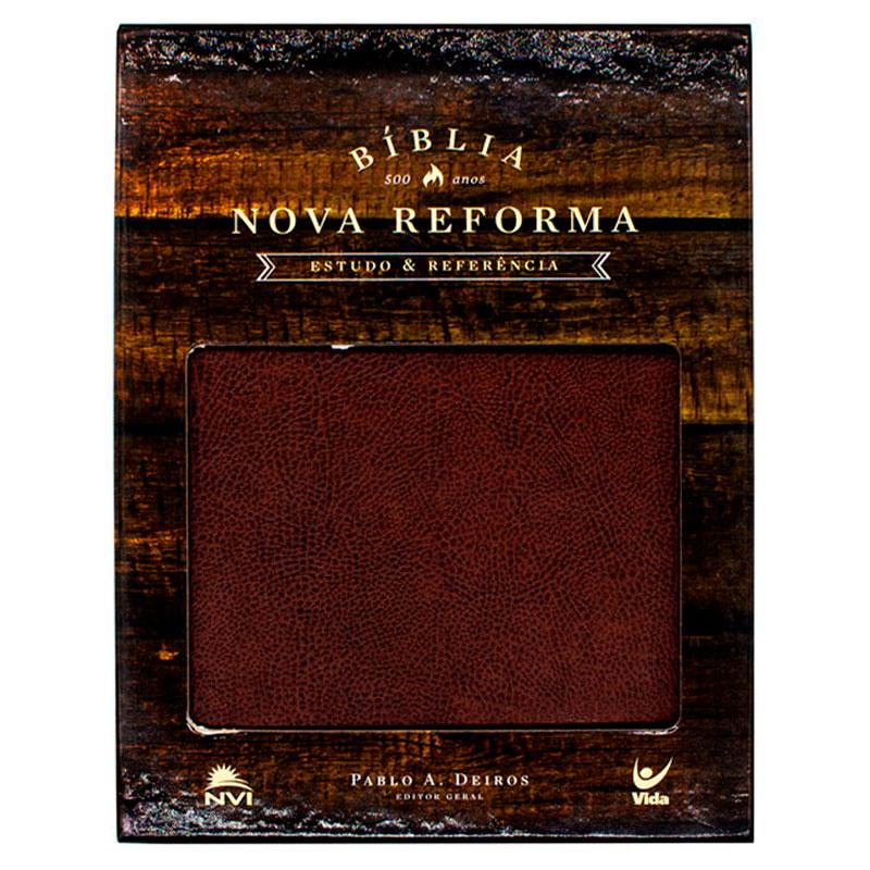 Bíblia Nova Reforma | NVI | Capa Couro Ecológico | Marrom