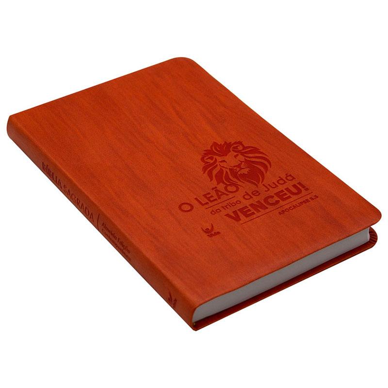 Bíblia Sagrada | AEC | Leão | Letras Vermelhas | Capa Pu Laranja