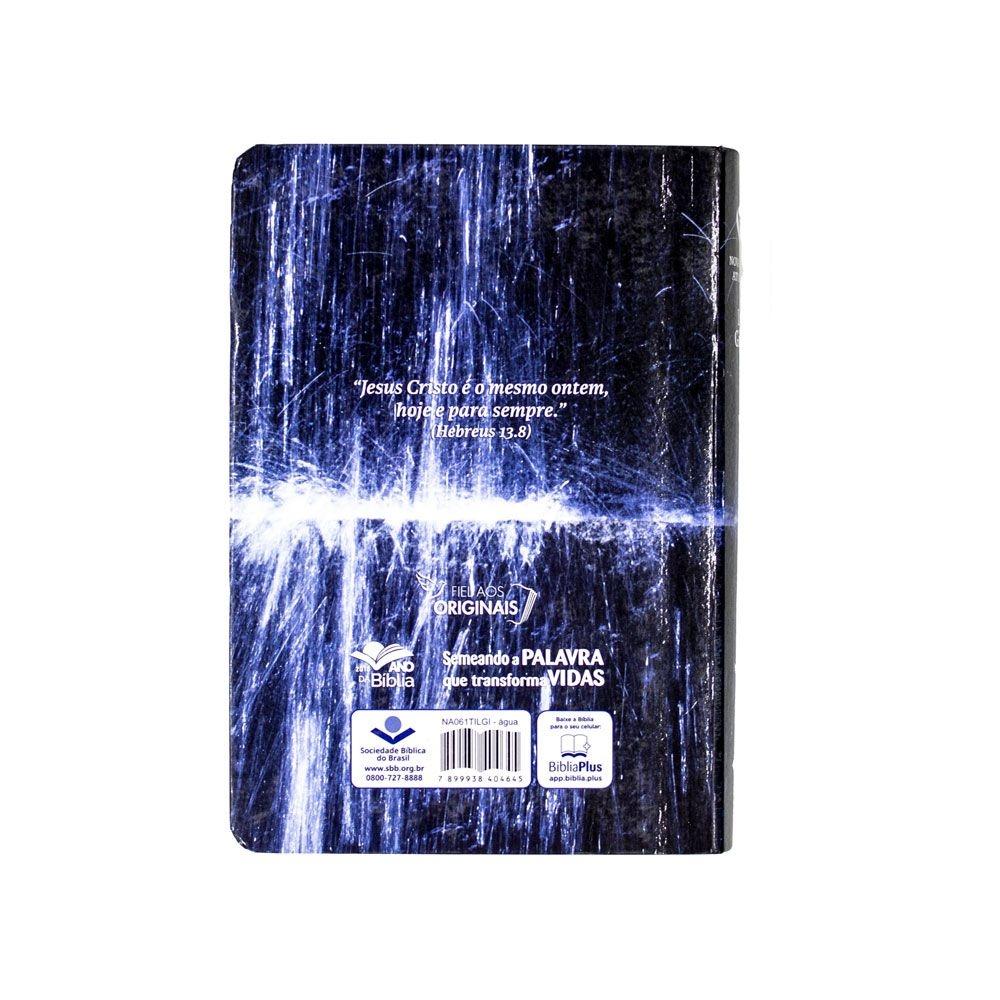 Bíblia Sagrada Água Com Índice | NAA | Capa Semiflexível | Letra Gigante |  Azul