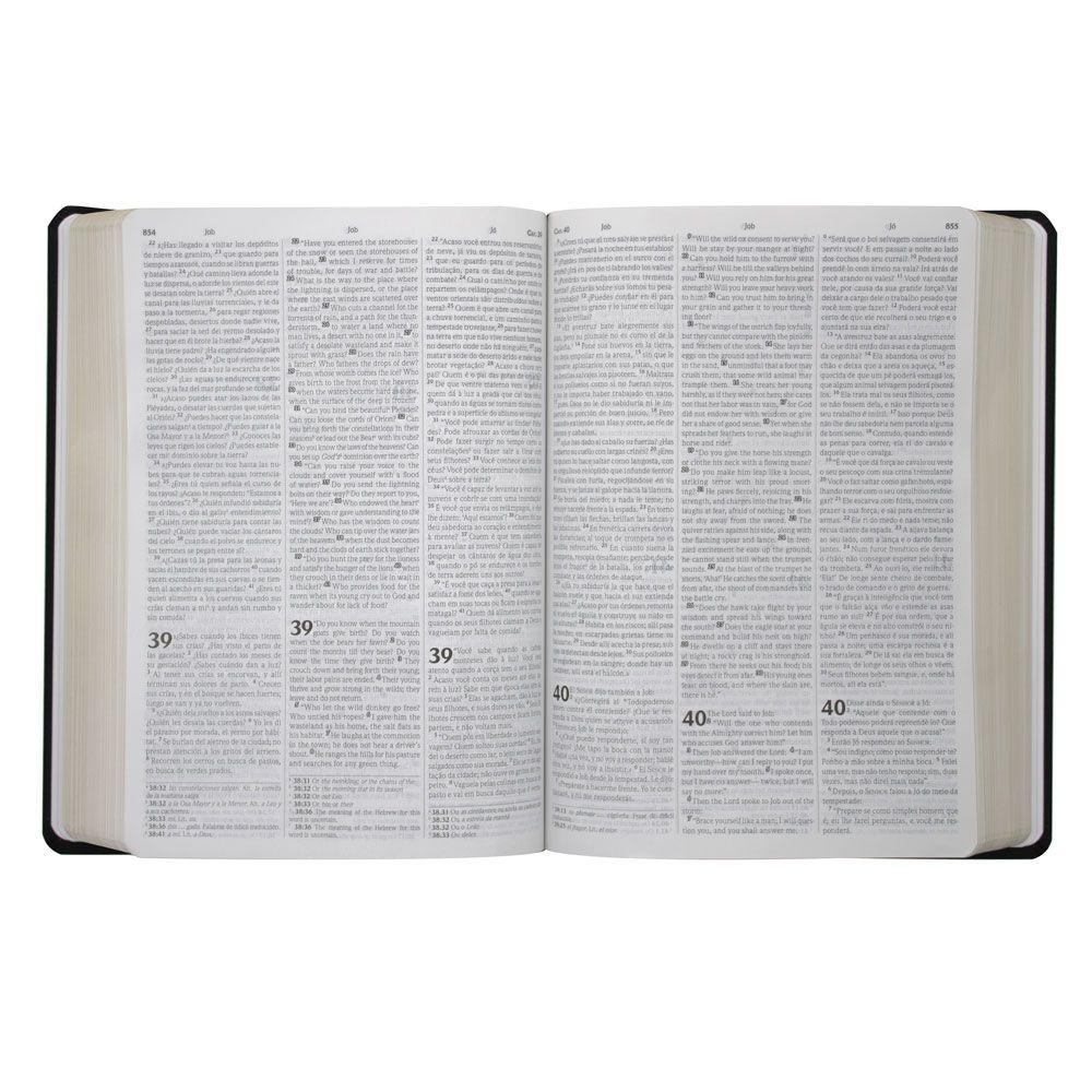 Bíblia Sagrada Edição Trilíngue | NVI | Capa Semiflexível | Preta