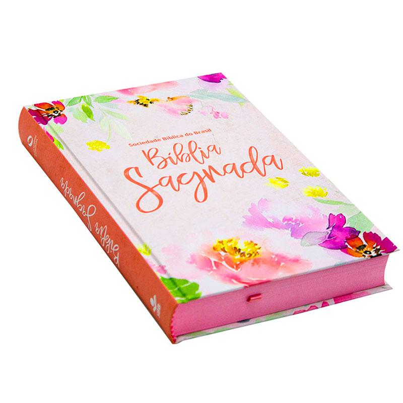 Bíblia Sagrada Floral | NAA | Capa Dura | Rosa
