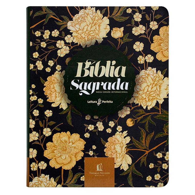 Bíblia Sagrada Flores | NVI | Capa Couro Soft