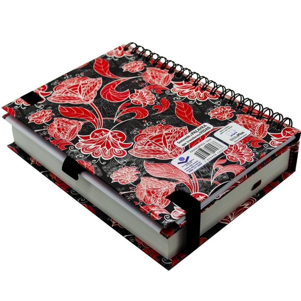 Bíblia Sagrada Fonte de Bençãos Com Caderno De Anotações   ARA   Capa Semiflexível   Vermelha e Preta