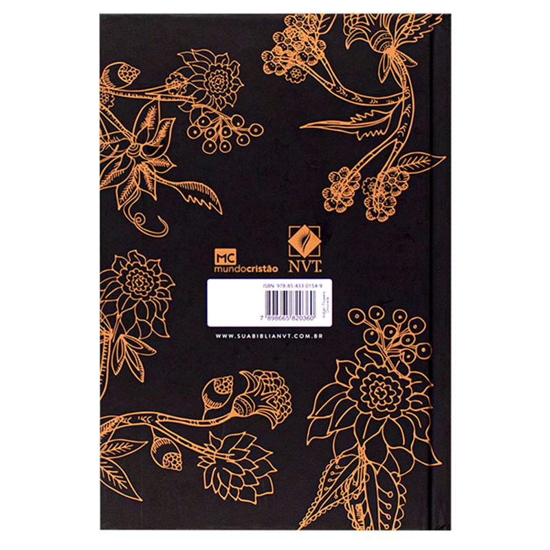 Bíblia Sagrada Indian Flowers   NVT   Capa Dura   Dourada