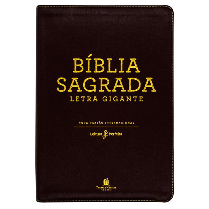 Bíblia Sagrada Leitura Perfeita   NVI   Capa Couro Soft   Letra Gigante   Marrom