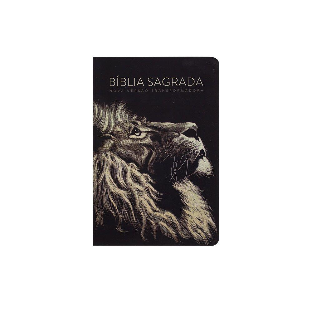 Bíblia Sagrada Lion Head   NVT   Soft Touch   Letra Grande   Marrom Escuro