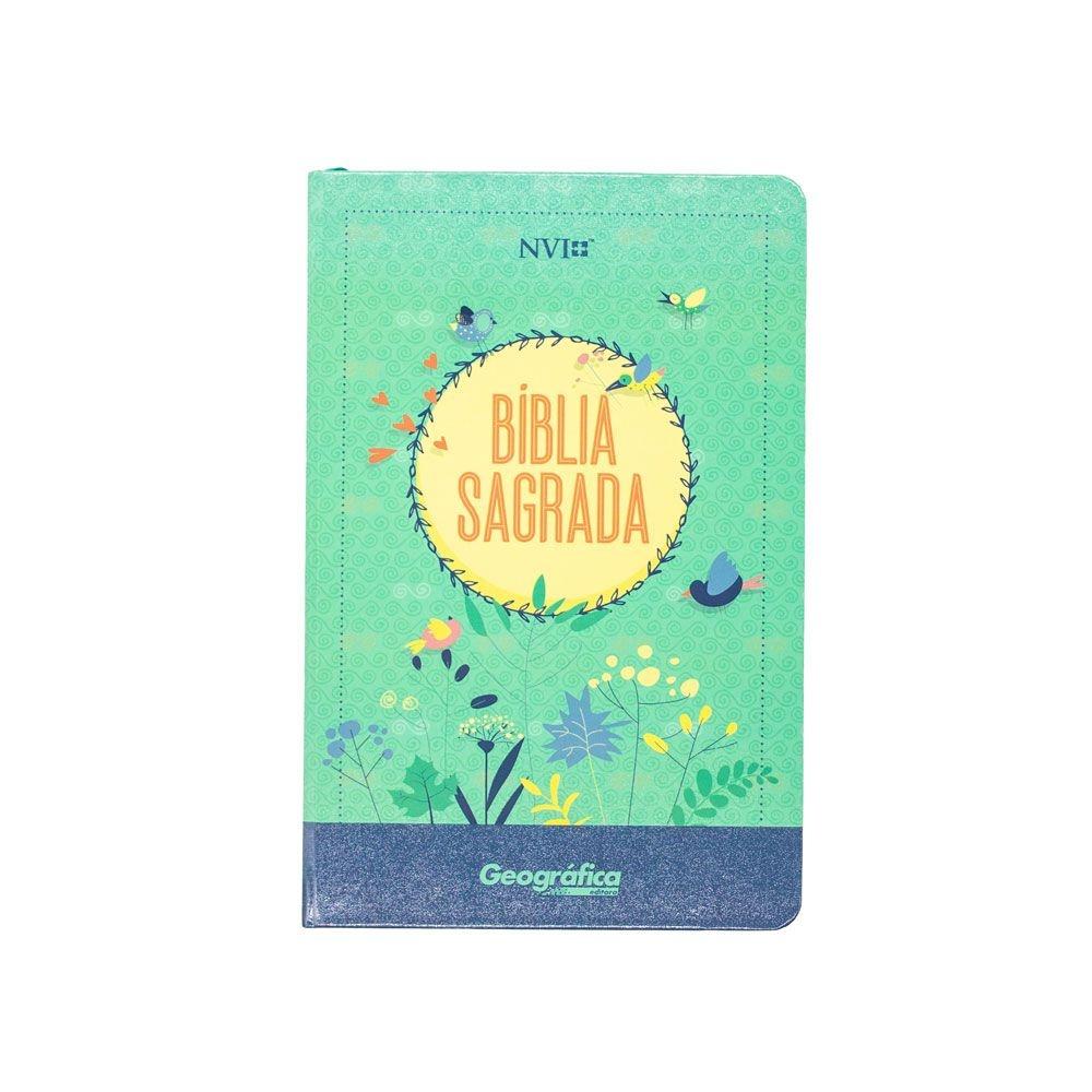 Bíblia Sagrada Nova Ortografia   NVI   Capa Dura Semiluxo   Verde Água