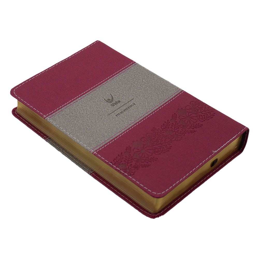 Bíblia Sagrada   NVI   Capa Luxo   Rosa E Cinza