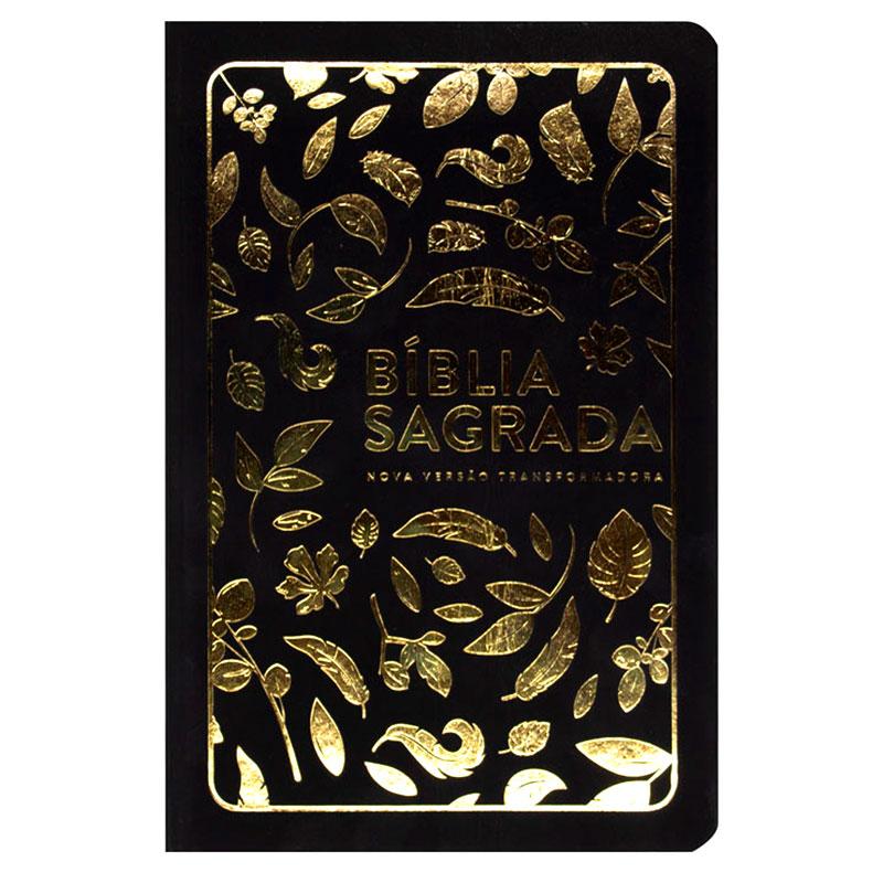 Bíblia Sagrada | NVT | Capa Soft Touch | Letra Grande | Preta Com Folhas Douradas