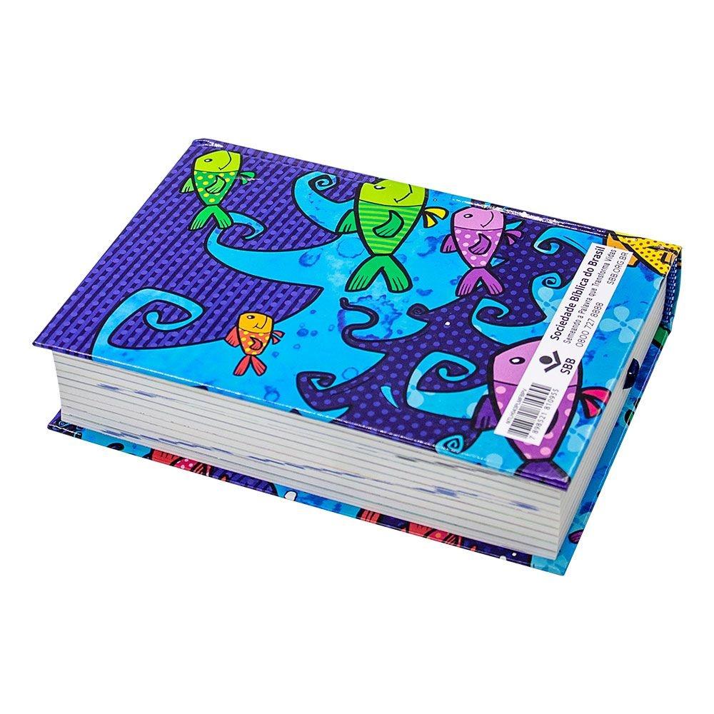 Bíblia Sagrada Palavra Da Vida + 80 Ilustrações | Ntlh | Capa Dura | Azul