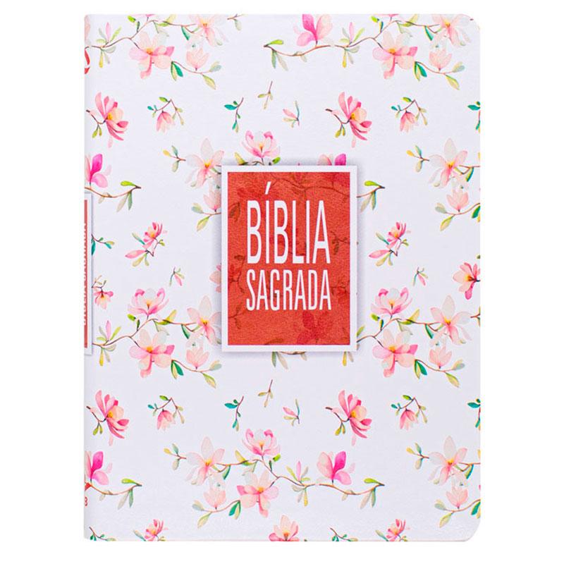 Bíblia Sagrada Slim - Flor | Naa | Couro Sintético | Letra Grande | Branca