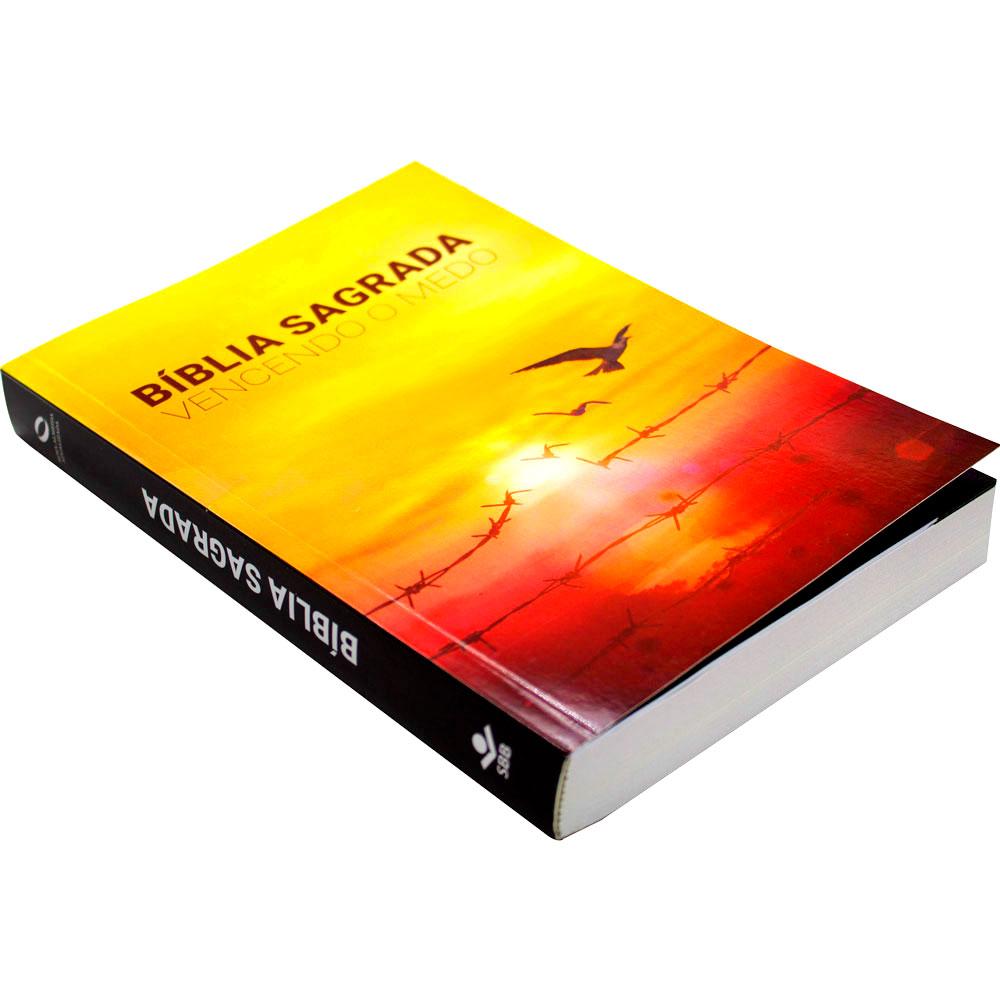 Bíblia Sagrada Vencendo O Medo   NAA   Capa Brochura   Amarelo E Vermelho