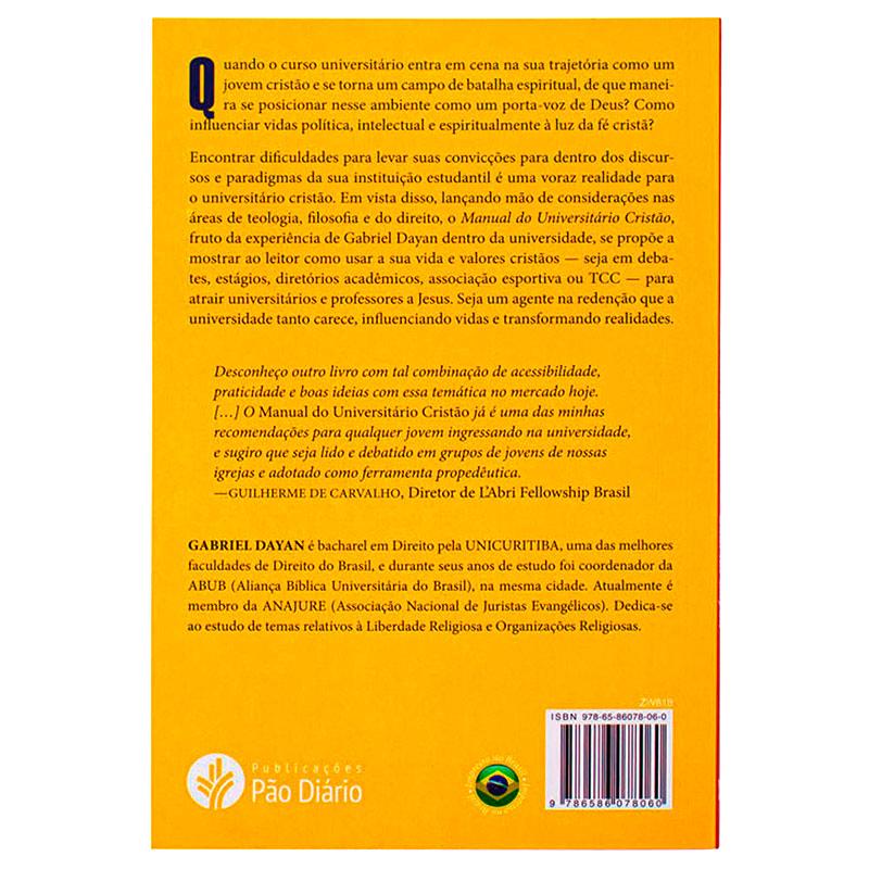 Livro: Manual Do Universitário Cristão   Gabriel Dayan
