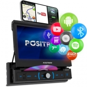Central Multimídia Retrátil Pósitron SP6330BT 7 1 Din Espelhamento Android Bluetooth DVD MP3 SD USB