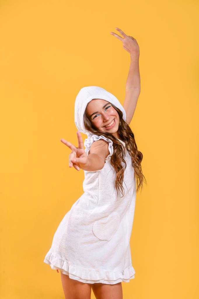 Vestido Atoalhado Coração Branco