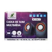 CAIXA DE SOM USB 5W RMS X-CELL XC-CM-11 PRETA/LARANJA