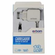 CARREGADOR PARA CELULAR COM 02 PORTAS USB 2.1A EXBOM C20V88