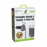 CARREGADOR VEICULAR 9.6A C/EXTENSOR USB 04P X-CELL XC-KT-18