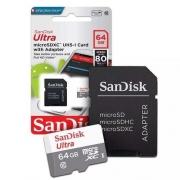 CARTAO DE MEMORIA MICRO SD C/ ADAP. SD 64GB C10 SANDISK