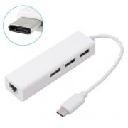 HUB 03 PORTAS USB 2.0 E ADAPTADOR USB-C 3.1 PARA REDE RJ45 10/100/1000 LE-5575