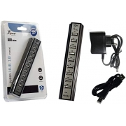 HUB USB 2.0 10 PORTAS COM FONTE 480MBPS KNUP HB-T69