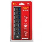 HUB USB 3.0 07 PORTAS C3TECH HU-S370BK PRETO