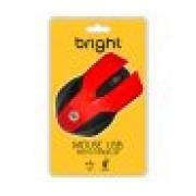 MOUSE USB 1000DPI BRIGHT 02210 PRETO/VERMELHO