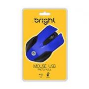 MOUSE USB 1000DPI BRIGHT 0379 PRETO/AZUL