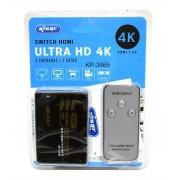 SWITCH HDMI 3 X 1 SAIDA C/ CONTROLE REMOTO EMPIRE 2833 / KNUP KP-3465