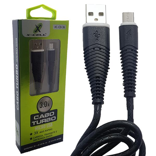 CABO DE DADOS USB PARA MICRO USB 3.0A X-CELL XC-CD-36 PRETO