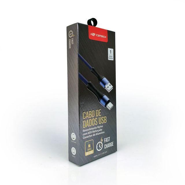 CABO DE DADOS USB PARA USB-C 5A 01 METRO C3TECH CB-C160BL