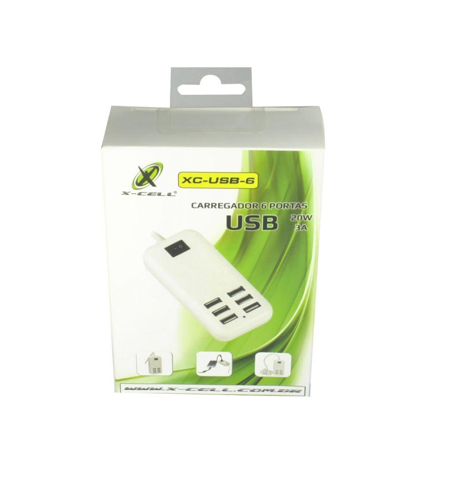 CARREGADOR PARA CELULAR 06 PORTAS 20W 3A X-CELL XC-USB-6