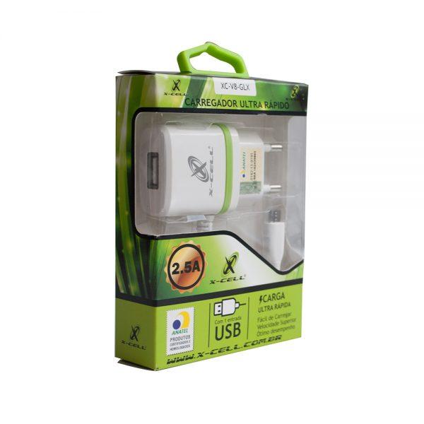 CARREGADOR PARA CELULAR RAPIDO 2.5A USB X-CELL XC-V8-GLX