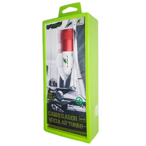CARREGADOR VEICULAR USB-C 4.8A 02 PORTAS X-CELL XC-V14USB