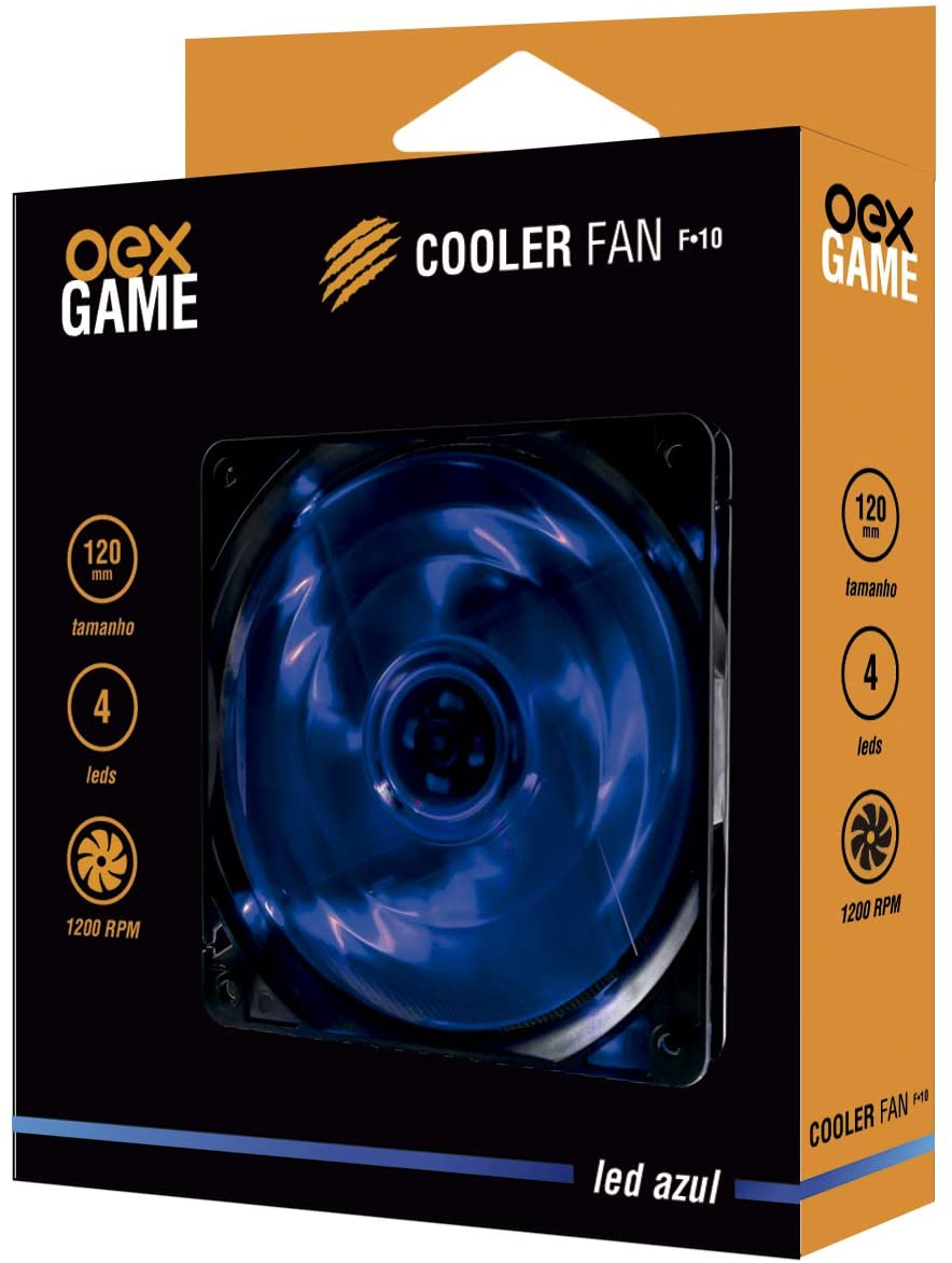 COOLER FAN 12X12 LED AZUL OEX F-10