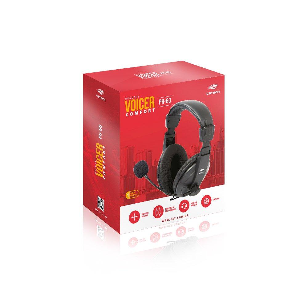 FONE DE OUVIDO COM MICROFONE VOICER C3TECH PH-60BK PRETO