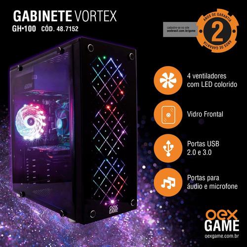GABINETE GAMER S/FONTE LAT. ACRILICO VORTEX OEX GH100 PR