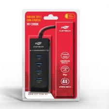 HUB USB-C 3.0 04 PORTAS C3TECH HU-C300BK PRETO