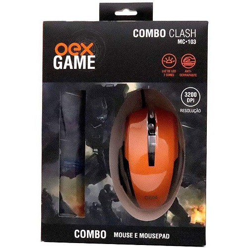 MOUSE USB COM MOUSE PAD GAMER OEX MC-103