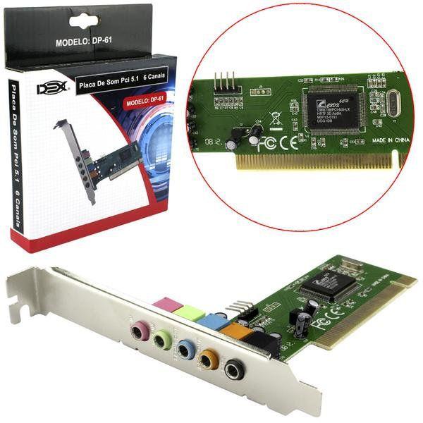 PLACA DE SOM PCI JPSOM 5.1 INTERNA DEX